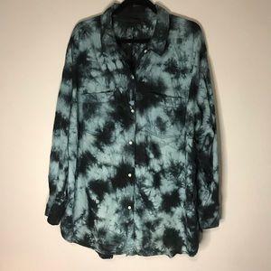 ANA 2XL blue Black Tie Dye Button Down Tunic